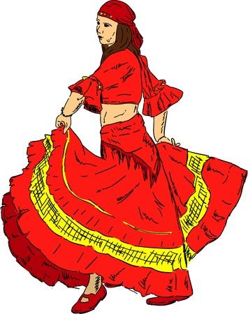 flamenca bailarina: Mujer bailarina de flamenco con un vestido antiguo, aislado en el fondo