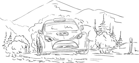rallies: vector - rally car on  the road Illustration