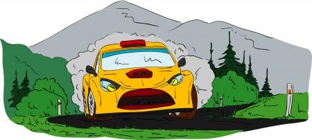 rally car: vector - rally car on  the road Illustration