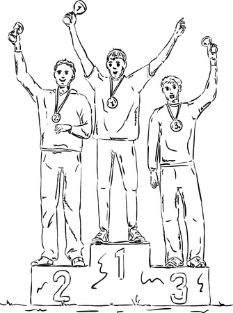 Three winners  on pedestal isolated on background Vector