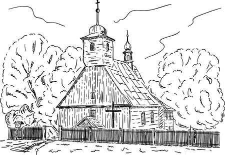 holy place: vector -  Old Wooden rural chapel with cemetery at Repiste, Czech republic