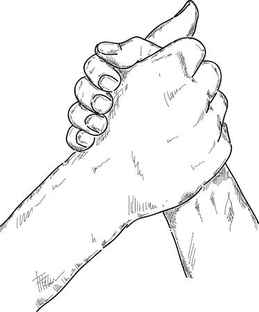 wrestling: vector - Arm wrestling isolated on background