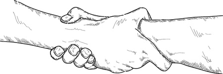 two people meeting: vector - two hands strong holding, isolated on background