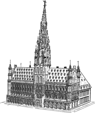 vector -  town hall brussels, isolated on background Illustration
