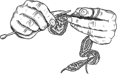 かぎ針編みの手 wuth かぎ針編みのフック作業、フロント ビュー