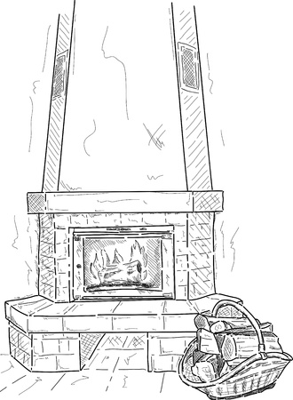 cartoon fireplace: vector - fireplace with a supply of timber