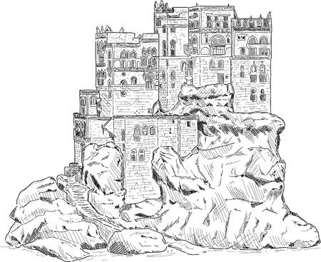 vector - Summer Palace of Imam Yahya - Dar Al Hayjar -  Yemen  Vector