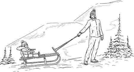 Mother pulling son on sledge at mountains Vector