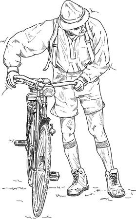 Hombre empujando una bicicleta, islated en el fondo Foto de archivo - 16940238