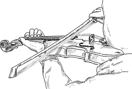 young violinist playing the violin , detail Vector