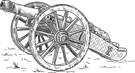 artillery:  historic artillery isolated on background Illustration