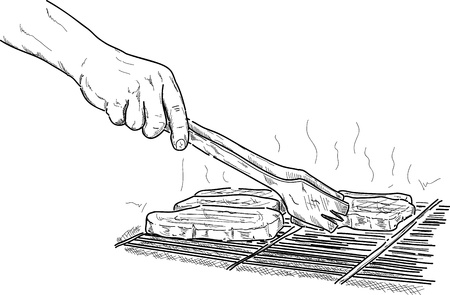 vector  hand  grilling a steak on the  barbeque Stock Vector - 17179583