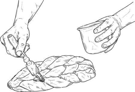 vector - baker preparing sweet bread (stolen bread) , isolated on background Stock Vector - 17179586