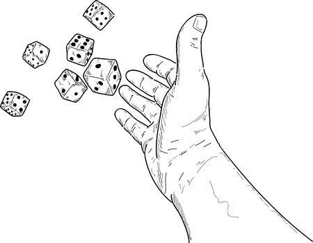 rolling dice: vector - hand rolling  dice isolated on white background