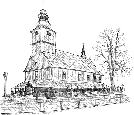 old wooden chapel with cementery in Sedliste, Czech republic Vector