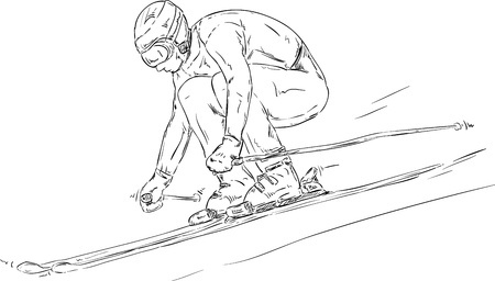 vector - skiing downhill race - isolated on background Vector