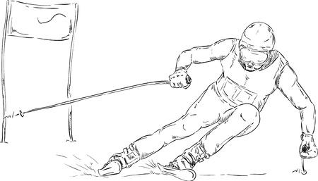 slalom: vector - wyÅ›cig slalom na nartach - na tle Ilustracja