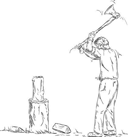 splitting:  man splitting wood with an axe isolated on background Illustration