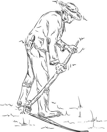 scythe:  farmer  with a vintage scythe isolated on background Illustration