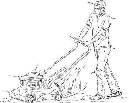 lawn mowing: vector - Man cutting grass , isolated on background Illustration
