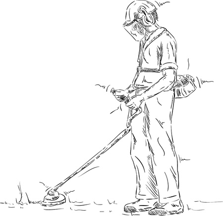 lawn mowing: vector - Man cutting grass  with the trimmer  Illustration