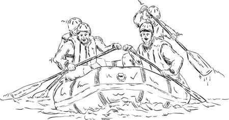 raft:  four people  rafting , isolated on background