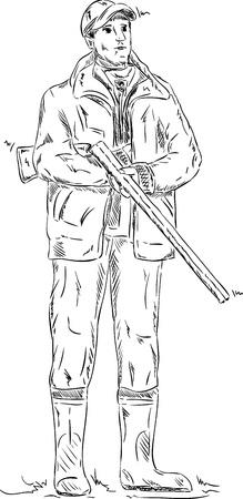 paint gun: vector - hunter with shotgun , isolated on background