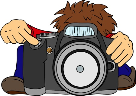 vector - the little photographer  and big camera , isolated on background Vector