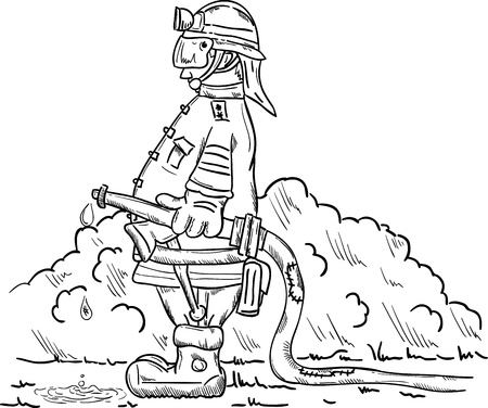 vector - firefighter with hose ready for action Vector