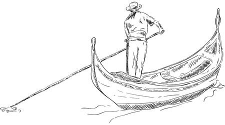 ベクトル - 背景に分離された船員とゴンドラ