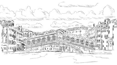 rialto bridge: vector - Rialto bridge, Venice, Italy Illustration