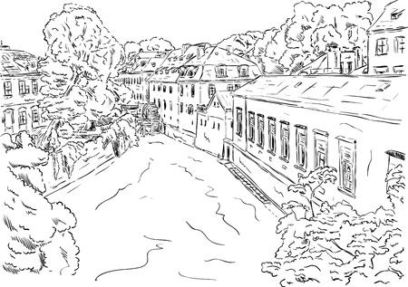 vector - district Kampa in Prague, old town Vektorové ilustrace