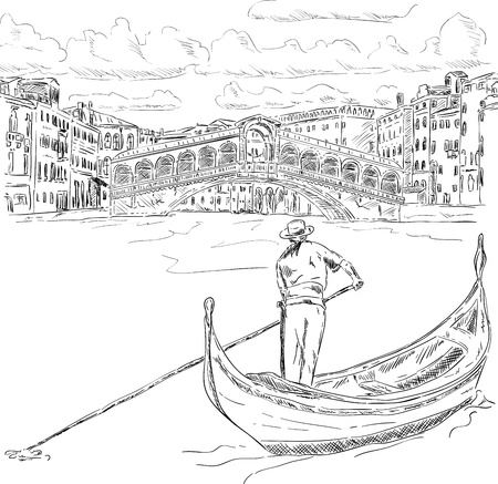 rialto bridge: vector - Rialto bridge with gondola,  Venice, Italy