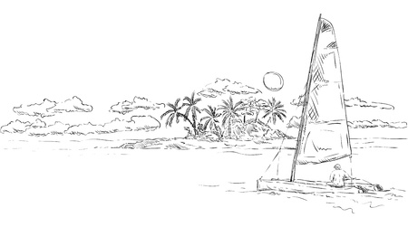 tropical beach panoramic: vector - tropical island at sunset with catamaran Illustration