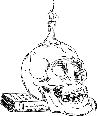 Skull on book  with candle ,isolated on background , hand draw