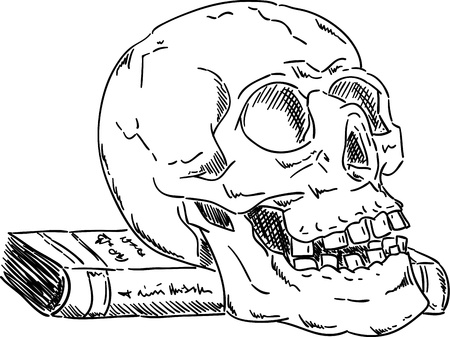 Skull on book  isolated on background , hand draw Illustration