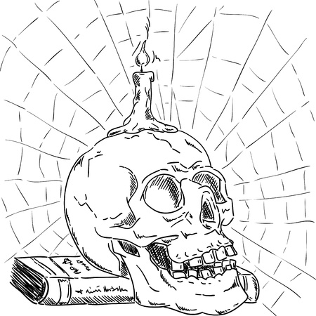 Skull on book  with candle and net ,isolated on background , hand draw Illustration