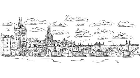 ベクトル - カレル橋、プラハ、チェコ共和国  イラスト・ベクター素材