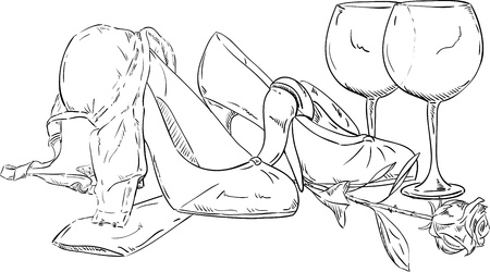 vector - clothes and rose  lying on the floor after party Illustration