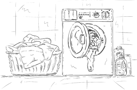 vector - washing machine and clothes at Bathroom Vector