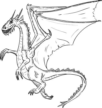 flying dragon: vector - dragon flying , isolated