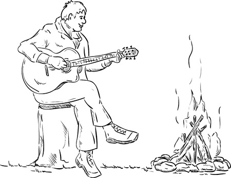 black boys: vector - plays guitar player sitting on the stump by the fire