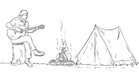 scout: vector - Scout plays guitar on a tree stump in the camp Illustration