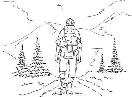 vector - wandelaar op de reis, bergen pad Vector Illustratie
