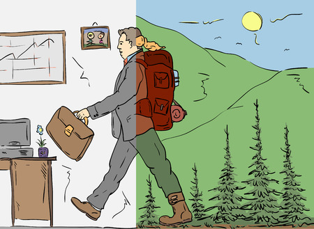 tramp: man return to work from nature