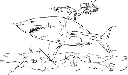 skin diving: vector - shark Illustration