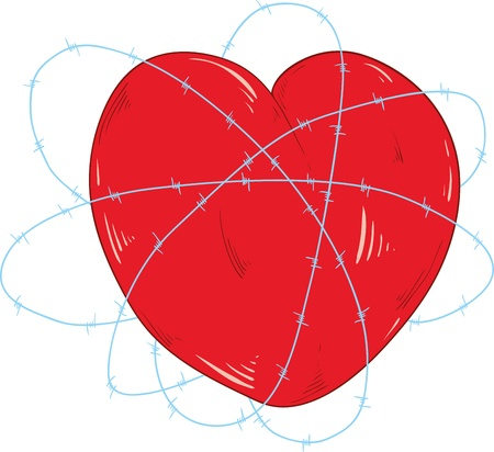 stapling: vector -  heart and bobwire