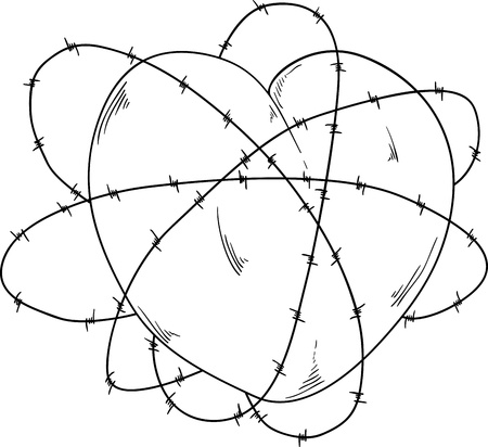 vector -  heart and bobwire