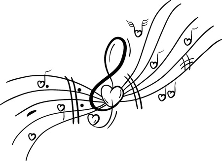 Musical notes with Hearts  Illustration