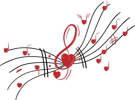 heart tone: vector - Musical notes - valentine theme -  Hearts